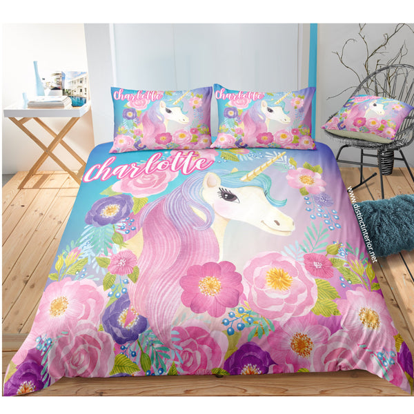 Distinct Interior Personalized Pink Purple Poppy Rose Unicorn Bedding Set With Name