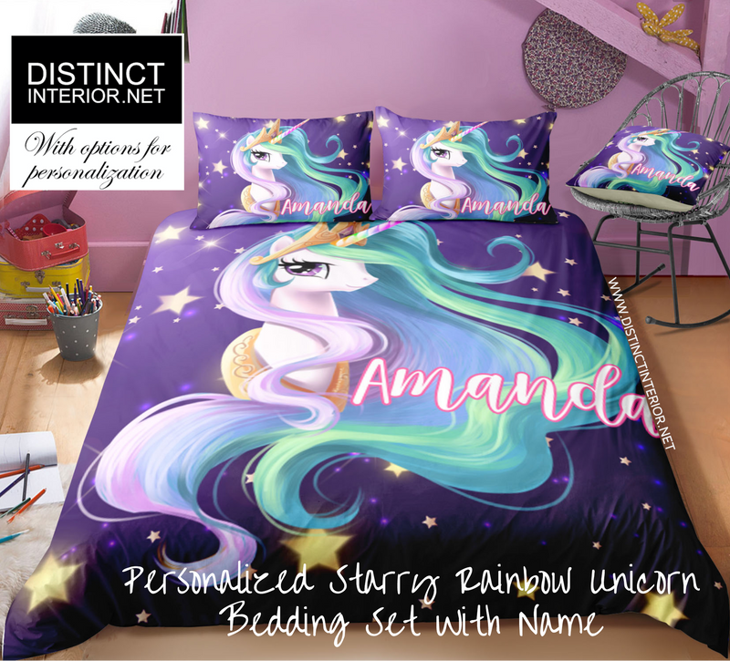 Distinct Interior Personalized Starry Princess Unicorn Bedding Set With Name