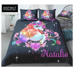 Distinct Interior Personalized Starry Floral Unicorn Black Background Bedding Set With Name