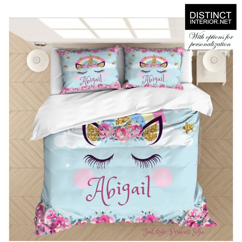 Distinct Interior Personalized Unicorn Bedding Set With Name, Pink Floral Blue Background