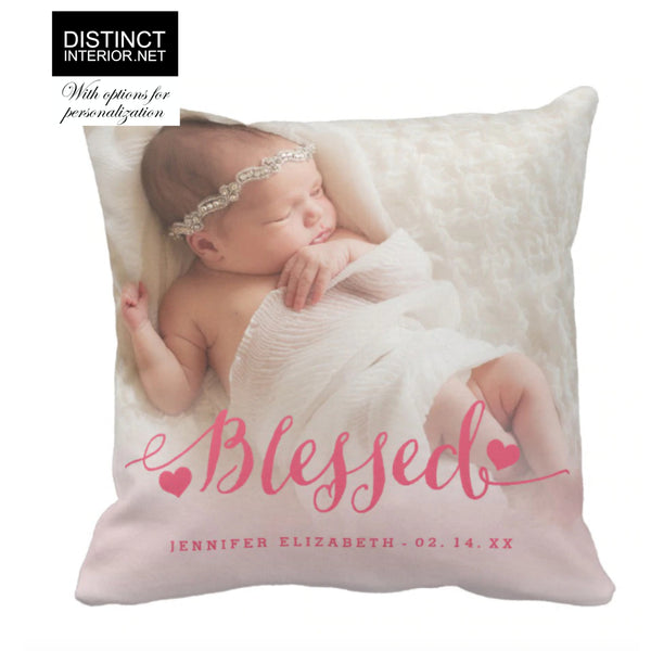 Distinct Interior Personalized Baby Birth Announcement For Girls With Text & Photo, Custom Birth Stats Cushion Cover