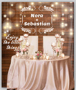 Customized Sparkle On Wood Background Wedding Backdrop Tapestry For Photo Shoot, Dessert Table, Couple's Table