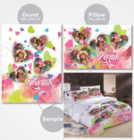 Personalized Pink Floral Heart Bedding Set