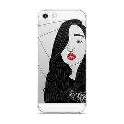 """Punk"" Girl Line Art iPhone (5/5s/Se/6/6s Plus) Case."