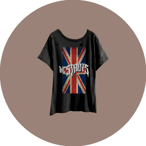 Heavy Distress Union Jack Womens T-Shirt