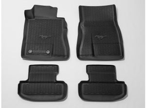 Mustang - Floor Liners All-Weather Tray Style, 4-Piece, Black, With Pony Logo (2015-2019)