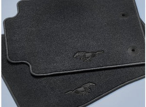 Mustang - Carpeted, Black, 2-Piece Set, With Black Pony Logo (2015-2018)