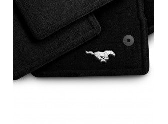 Mustang - Carpeted, Front 2 Pc Set, Black with Pony Logo, Driver and Passenger Dual Button (2013-2014)