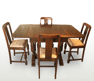 Antique English Extendable Dining Table with 4 Chairs