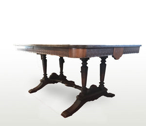 Greek Key Mahogany Table with 4 Needlepoint Chairs