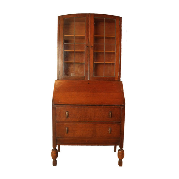 Bureau Bookcase with Lead Glass Doors - Repro Furniture