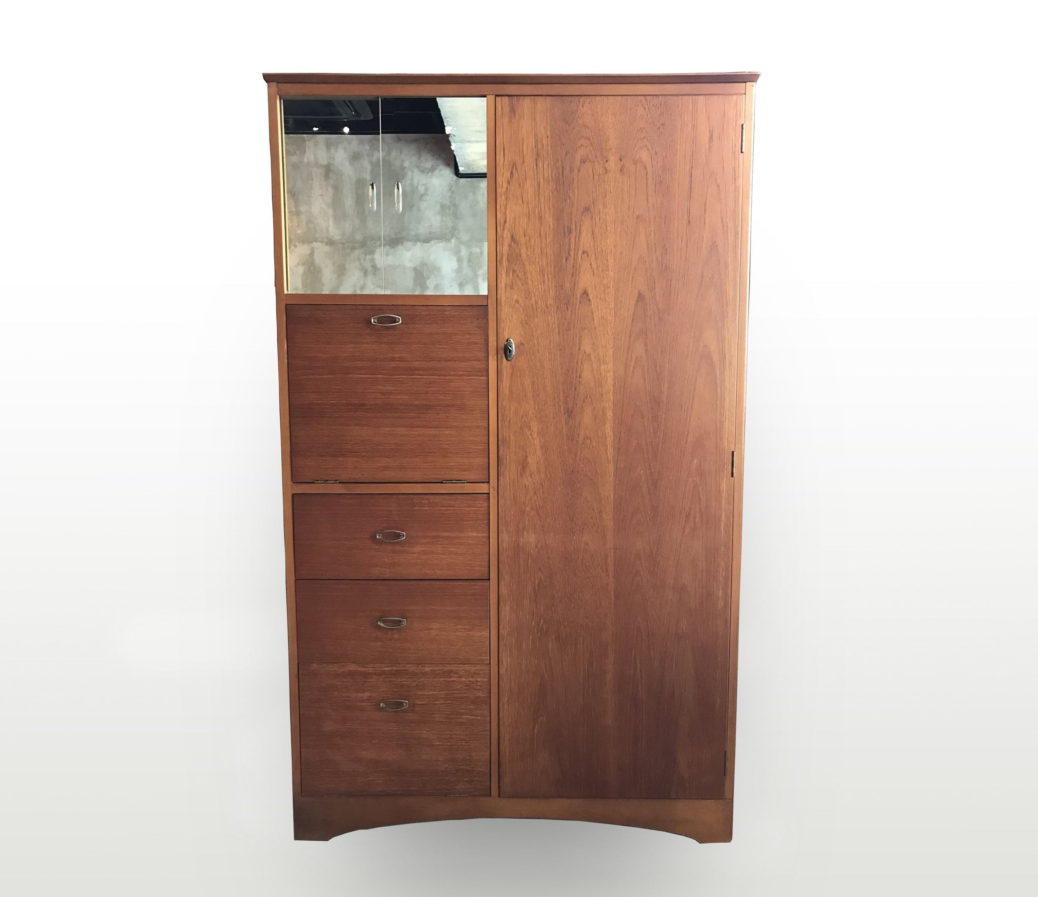 "Mid century wardrobe with drop front and mirror sliding door, 41"" x 61"" - Repro Furniture"
