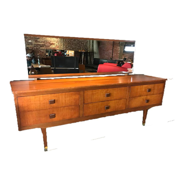 6 Drawer Dressing Table with Mirror - Repro Furniture