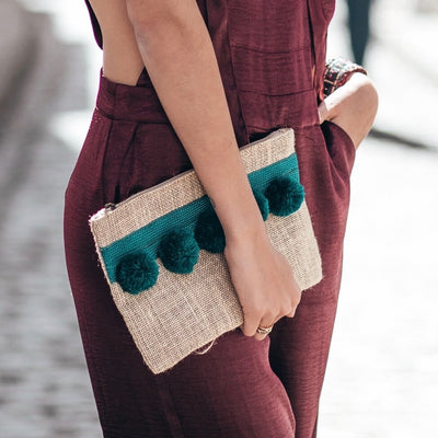 Hessian PomPom Clutch