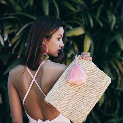 Raffia Clutch With Tassel