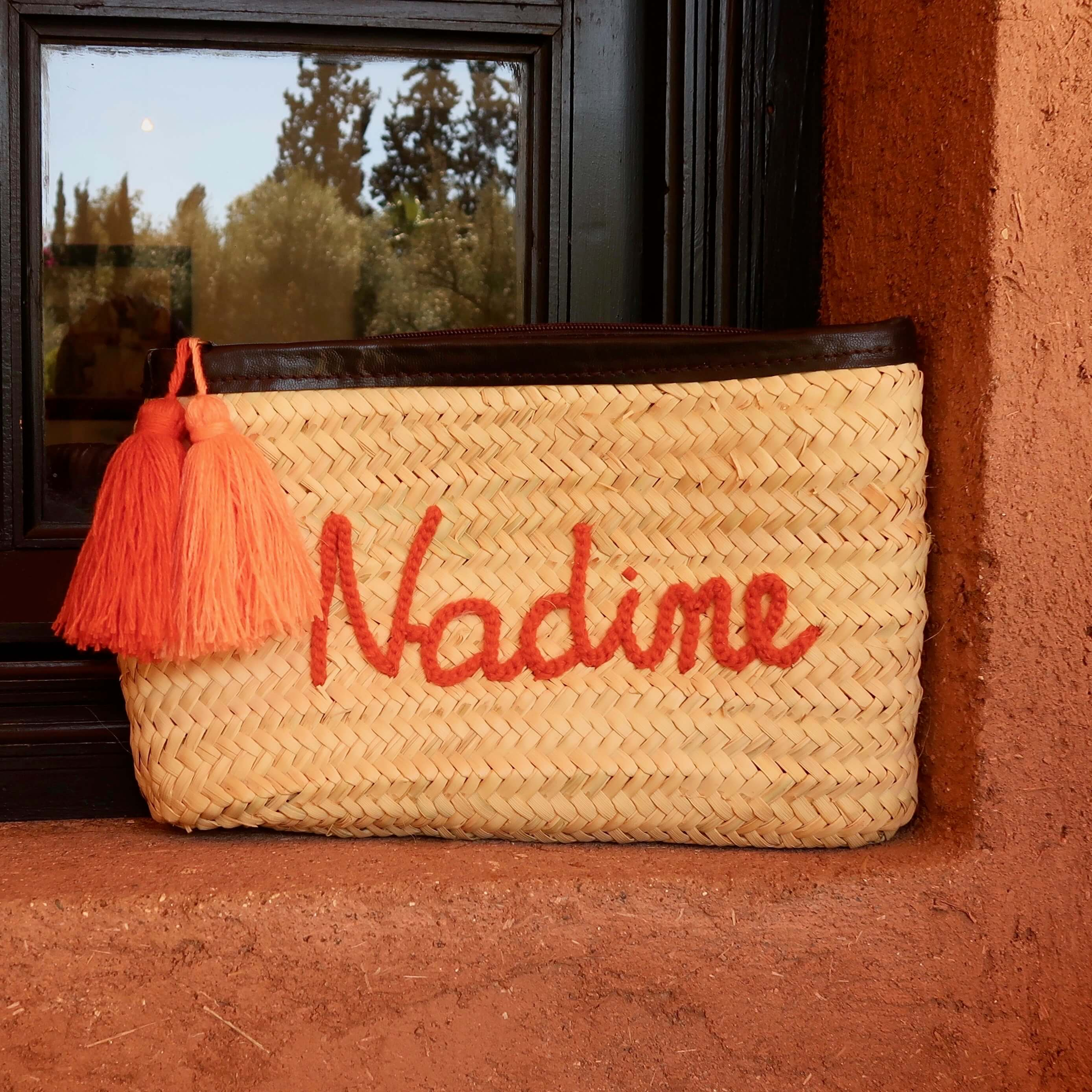 personalised clutch, straw clutch, name clutch