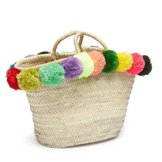 Straw beach bag with pompoms - sustainable fashion, fashion accessories