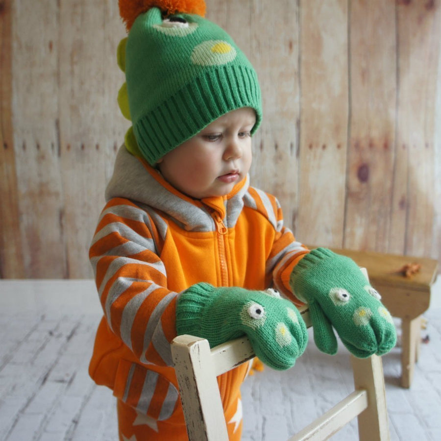 Blade and Rose Crocodile Hat and Mitten Set 鱷魚冷嬰兒帽+手襪套裝-Blade and Rose-shopababy