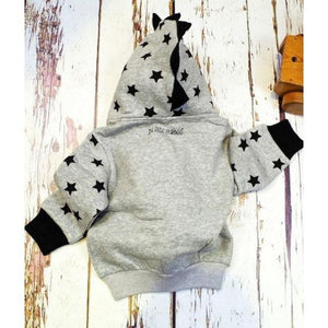 Blade and Rose Grey Star Hoodies Jacket 灰星星毛毛嬰兒外套(有內埋)-Blade and Rose-shopababy