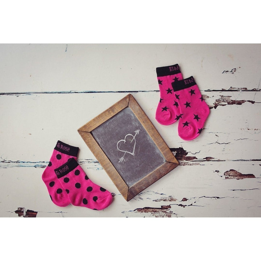 Blade and Rose Hot Pink and Black Socks 粉红黑純棉嬰兒襪 (一包兩對)-Blade and Rose-shopababy