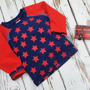 Blade and Rose Navy and Red Tee 藍底紅星純棉彈力嬰兒長袖衫-Blade and Rose-shopababy