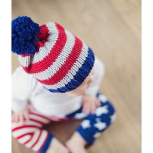 Blade and Rose Navy Chunky Bobble Hats 藍灰間嬰兒冷帽-Blade and Rose-shopababy