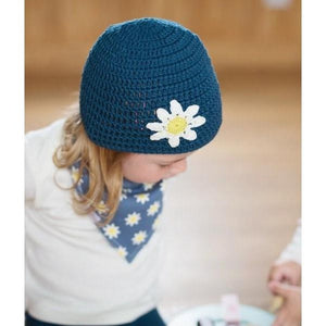 Blade and Rose Navy Daisy Crochet Hats 藍花花手鈎純棉嬰兒帽-Blade and Rose-shopababy