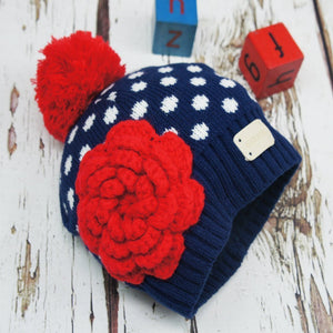 Blade and Rose Navy & Red Crochet Flower Hat 藍底大红花花嬰兒冷帽-Blade and Rose-shopababy
