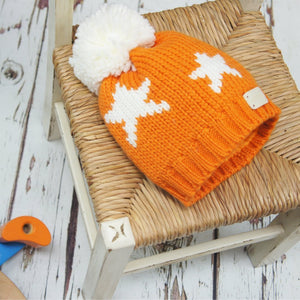 Blade and Rose Orange Star Bobble Hat 橙色嬰兒冷帽-Blade and Rose-shopababy