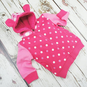 Blade and Rose Pink Spotted Hoodies Jacket 粉紅色毛毛內埋外套-Blade and Rose-shopababy