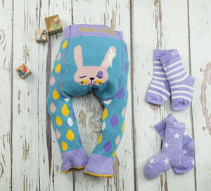Blade and Rose Rabbit Purple Socks 紫色小兔純棉嬰兒襪 (一包兩對)-Blade and Rose-shopababy