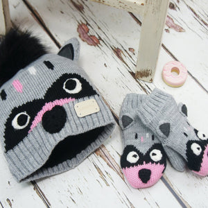 Blade and Rose Raccoon Hat and Mitten Set 油鼠嬰兒冷帽+手襪套裝-Blade and Rose-shopababy