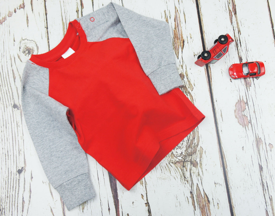 Blade and Rose Red and Grey Tee 紅灰純棉彈力嬰兒長袖衫-Blade and Rose-shopababy