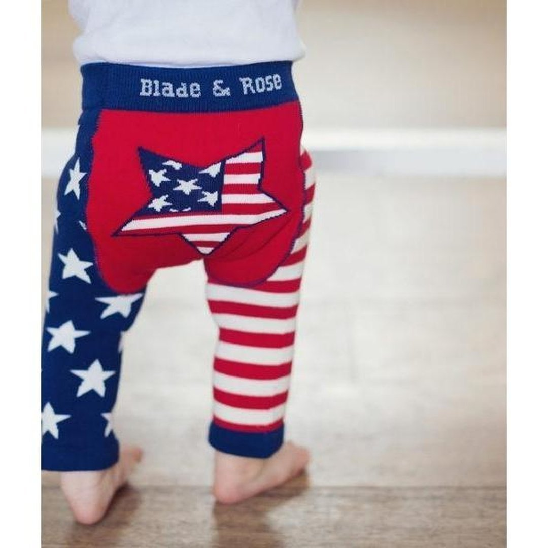 BLADE AND ROSE US FLAG LEGGING 美國旗純棉嬰兒無縫彈力屁屁褲-Blade and Rose-shopababy