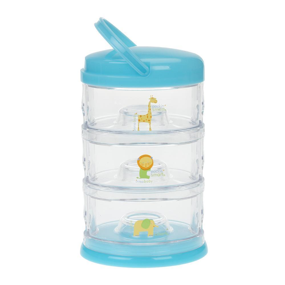 Innobaby 3 Tier Stackable Blue Zoo Animals 3層透明嬰兒零食奶粉格-Innobaby-shopababy