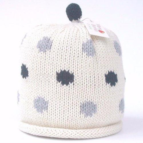 Merry Berries Multi Spot Handmade Knitted Hat 米白底灰黑波點手鈎純棉嬰兒帽-Merry Berries-shopababy