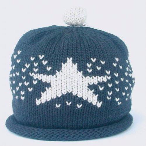 Merry Berries Navy Star Handmade Knitted Hat 藍底大星手鈎純棉嬰兒帽-Merry Berries-shopababy