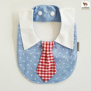 Puchimama PNB0001T Blue Polka Dot Red Necktie 藍底白波點紅格仔領呔純棉嬰兒口水巾-Puchimama-shopababy