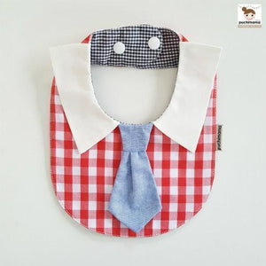 Puchimama PNB0015T Red Checks Blue Necktie 紅白格仔藍領呔純棉嬰兒口水巾-Puchimama-shopababy
