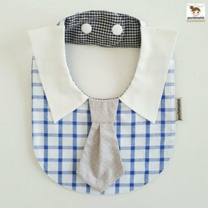 Puchimama PNB0030T Blue and White Checks Grey Necktie 淺藍白格仔灰領呔純棉嬰兒口水巾-Puchimama-shopababy