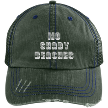 NO SHADY BEACHES - Distressed Unstructured Trucker Cap