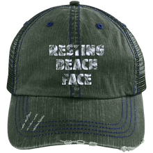 RESTING BEACH FACE - Distressed Unstructured Trucker Cap