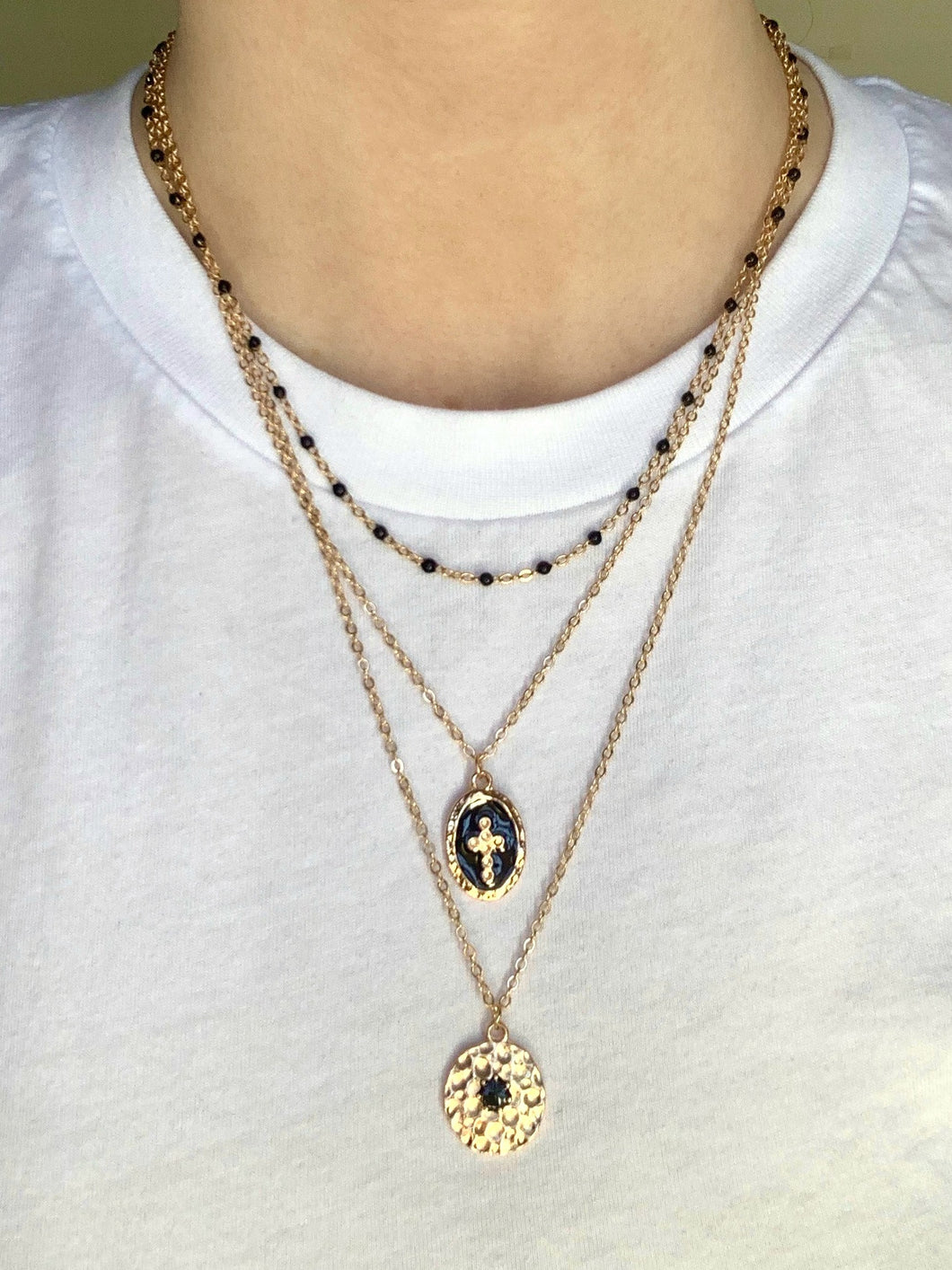 Tri Layer Cross Necklace