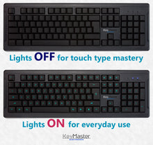 Keyboard Lights on or off backlighting for touch type student learner keyboarding practice on KeyMaster Learning Lights Keyboard