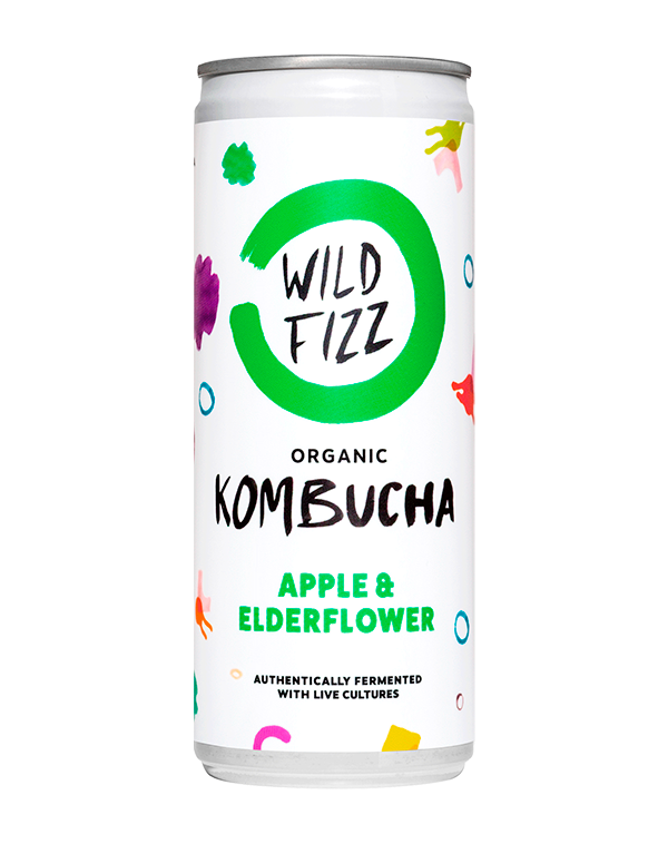 NEW! Apple & Elderflower (Case of 12) - Wild Fizz Kombucha brewed in London