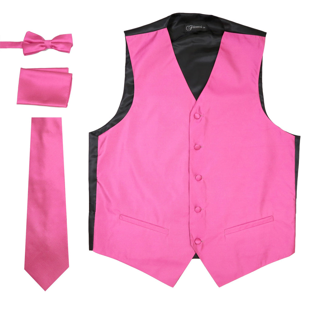 Ferrecci Mens Solid Fuchsia Wedding Prom Grad Choir Band 4pc Vest Set - Ferrecci USA
