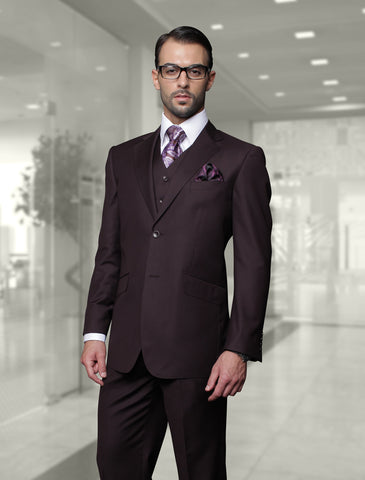 Statement Confidence - Men's Eggplant (Plum) 2 Button Modern Fit Wool Suit - STZV100