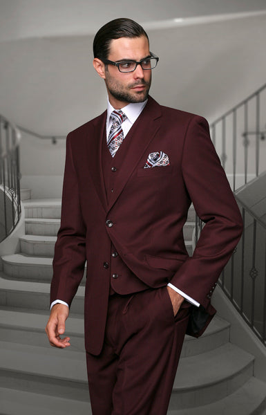 Statement Confidence - Men's Burgundy 2 Button Modern Fit Wool Suit - STZV100