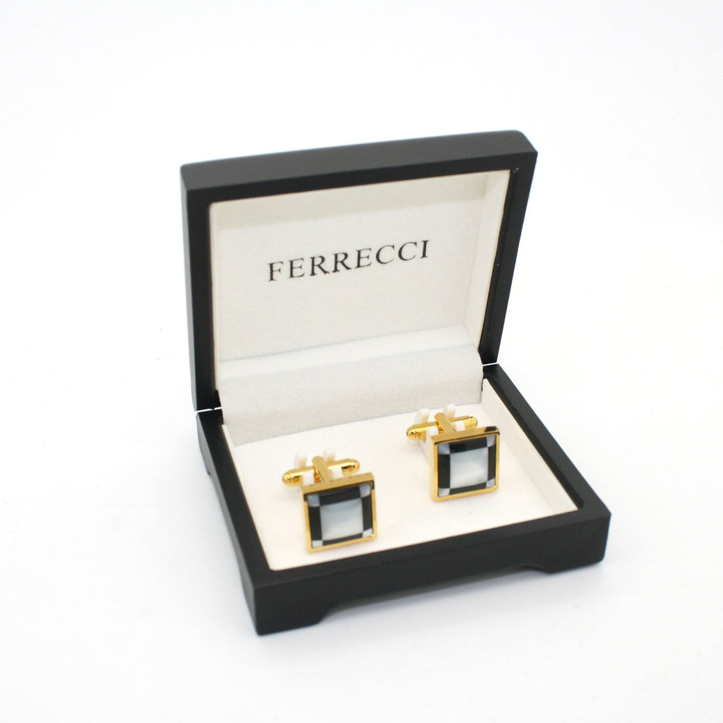 Goldtone Black and White Square Cuff Links With Jewelry Box - Ferrecci USA