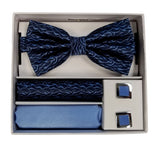 Adolfo Wavey Pattern Bow Tie Hanky & Cufflink Box Set - ABS70643B
